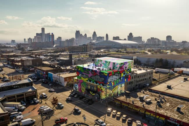 Aerial View - MVRDV Reveals Glass Mural in Detroit, makes its debut in Midwestern United States