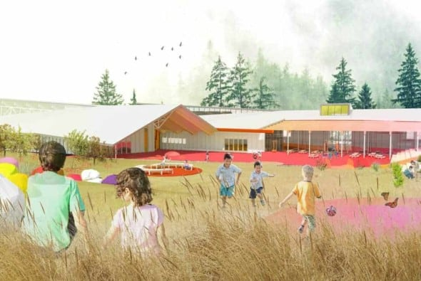 Exterior perspective of the winning project designed by Lapointe Magne and Associates + L'ŒUF, for the Lab-École competition in Rimouski