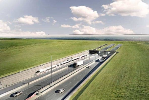 When completed, the Fehmarnbelt Fixed Link will be the longest combined road and rail tunnel anywhere in the world. This rendering shows the ramp to the tunnel on the Danish side