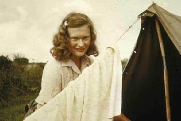 Carol Johnson camping, 1951