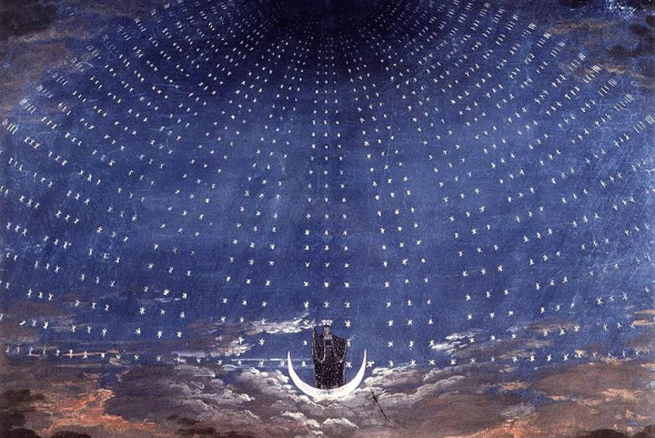 image shows Schinkel's set for the Magic Flute; via Wikimedia Commons