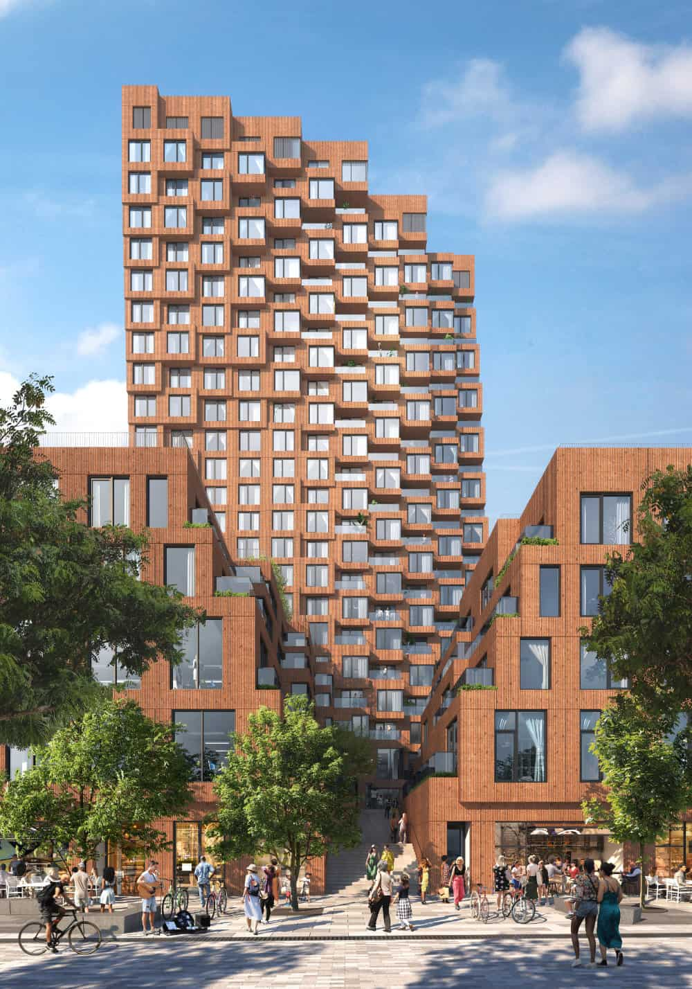 Undulating balconies extend all the way up the western façades of the 23-storey tower