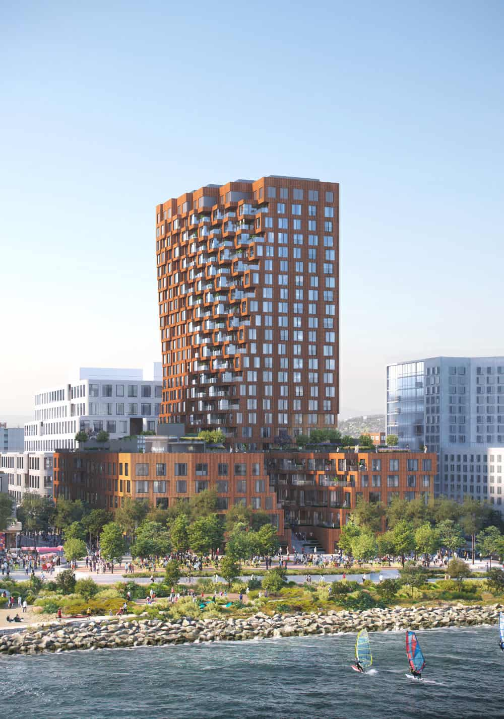 MVRDV's design forms an ensemble of low and high-rise sharing a publicly accessible canyon-like space