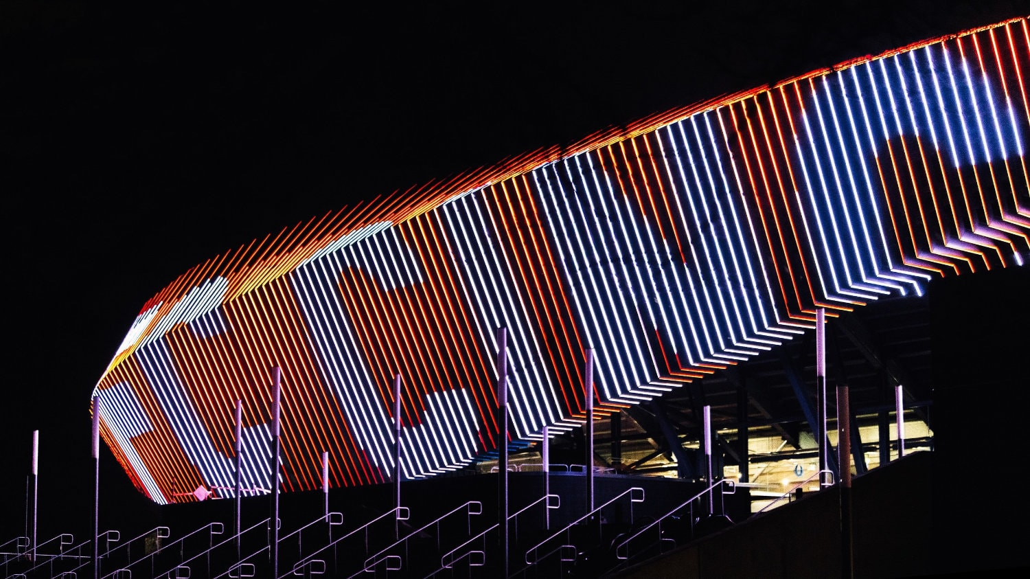 TQL Stadium features a one-of-a-kind dyanmic LED lighted facade.