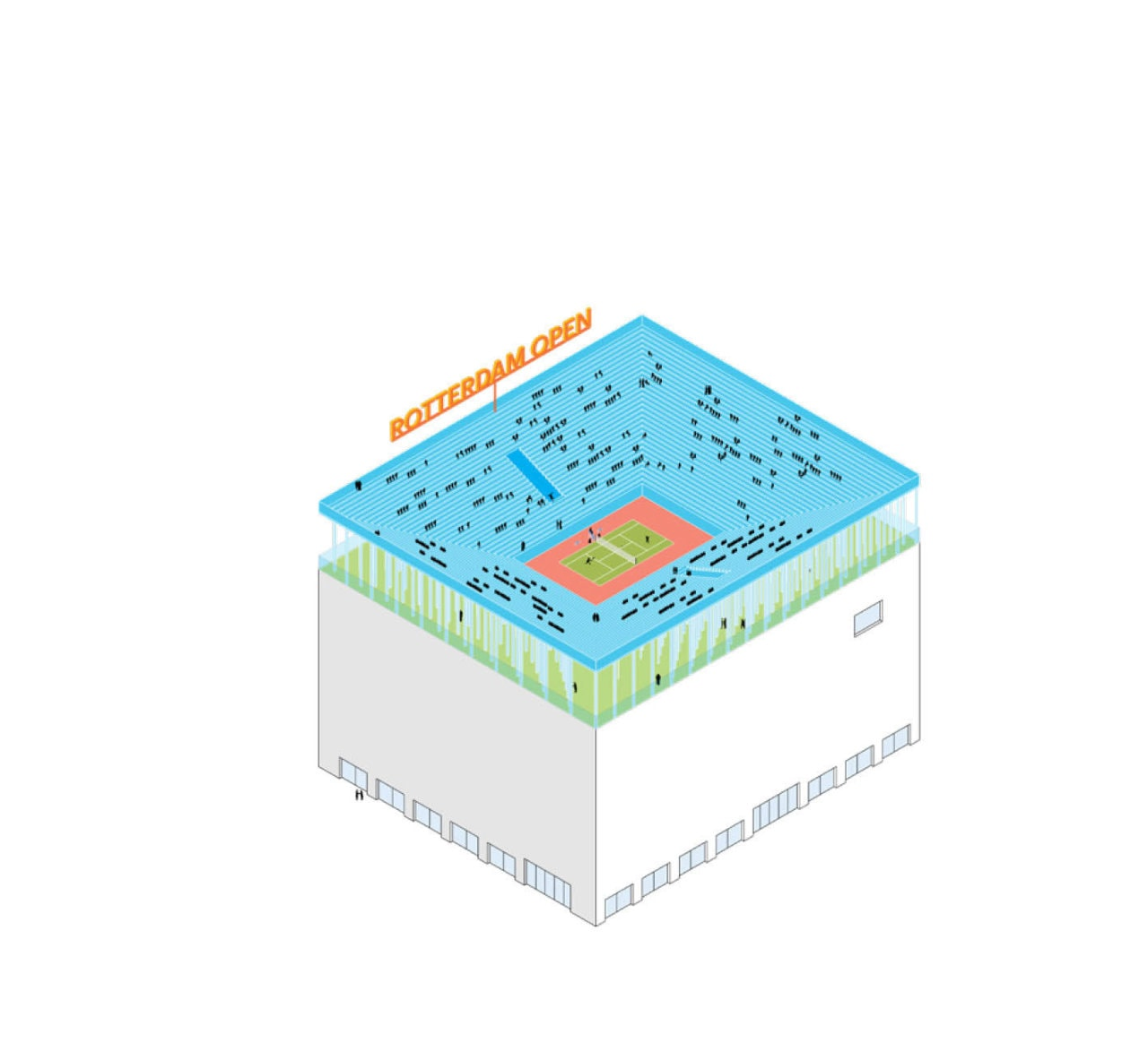 Stadium: In addition to playing sports on a rooftop, people could also watch sports. A small stadium (for tennis or urban sports, for example) would fit on a large rooftop